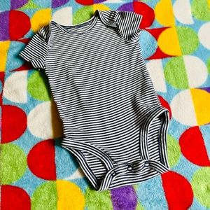 Blue and white striped short sleeve onesie